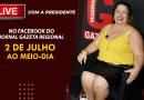 GAZETA | Presidente Clícia participará de live quinta (2) ao meio dia